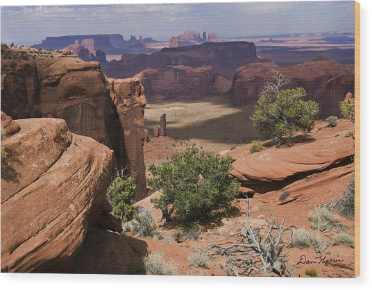 Hunt's Mesa And Monument Valley Wood Print