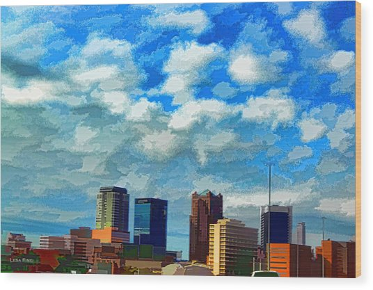 Huntsville Alabama Skyline Abstract Art Wood Print