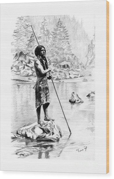 Hupa Fisherman Wood Print