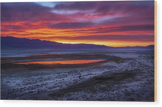 Hwy 395 Sunrise Wood Print by Steve Spiliotopoulos