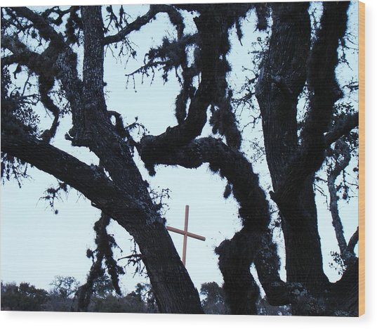 Hwy 87 Cross Two Wood Print by Ana Villaronga