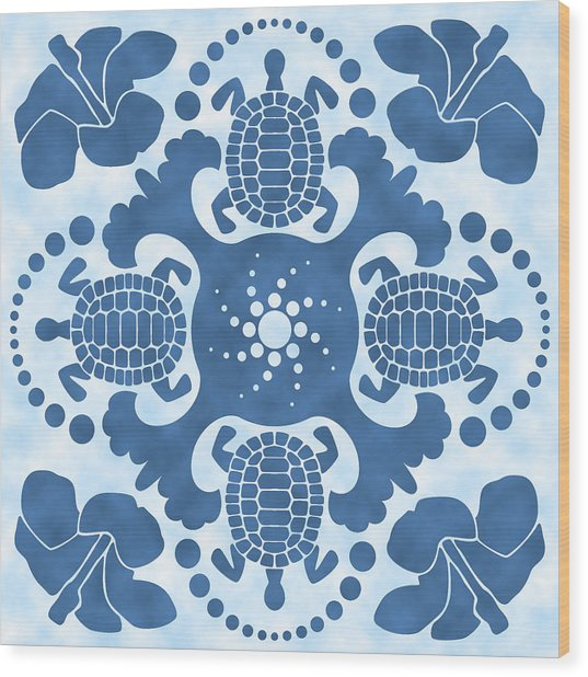 Hybiscus And Turtle Hawaiian Quilt Block Wood Print