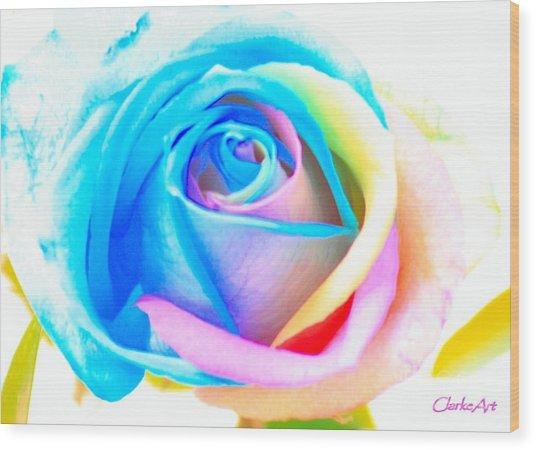 Rainbow Rose Wood Print