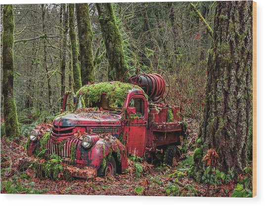 Hybrid Fire Truck Wood Print