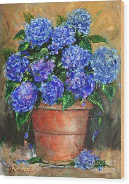 Hydrangeas In Pot Wood Print