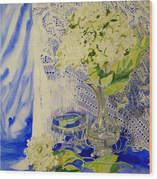 Hydrangia And Lace Wood Print by Terry Honstead