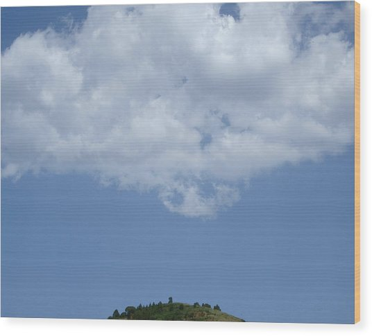 Hyperion - Lonely Cloud On Blue Sky Wood Print