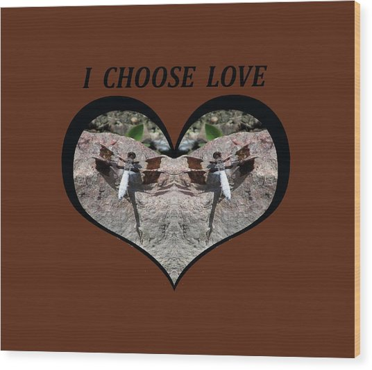 I Chose Love With Dragonflies On A Rock Wood Print