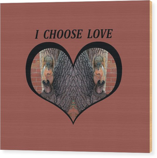 I Chose Love With Squirrels Hands On Hearts Wood Print
