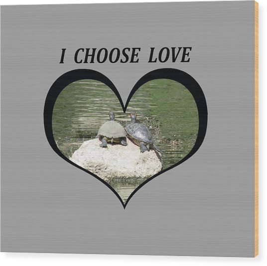 I Chose Love With Two Turtles Snuggling Wood Print
