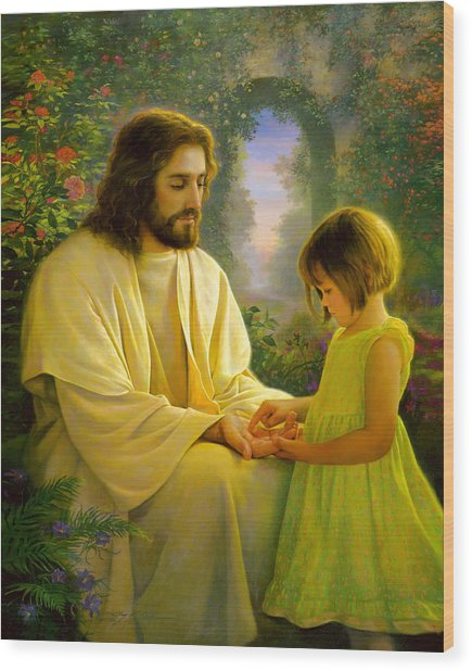 Wood Print featuring the painting I Feel My Savior's Love by Greg Olsen