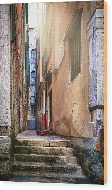 I Have Seen Your Trolley, Somewhere In Venice Wood Print
