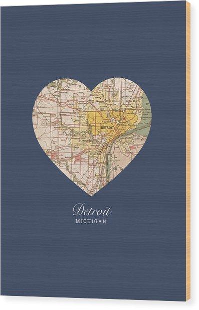 I Heart Detroit Michigan Vintage City Street Map Americana Series No 001 Wood Print