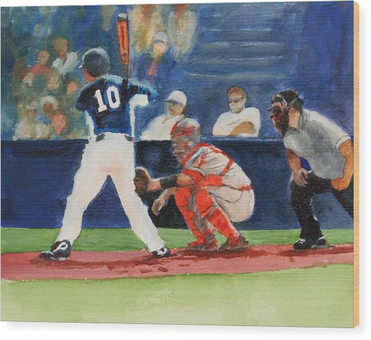 I Love Baseball Wood Print