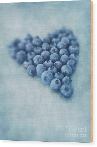 I Love Blueberries Wood Print