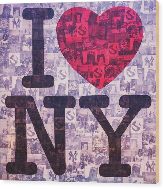 I Love New York Wood Print