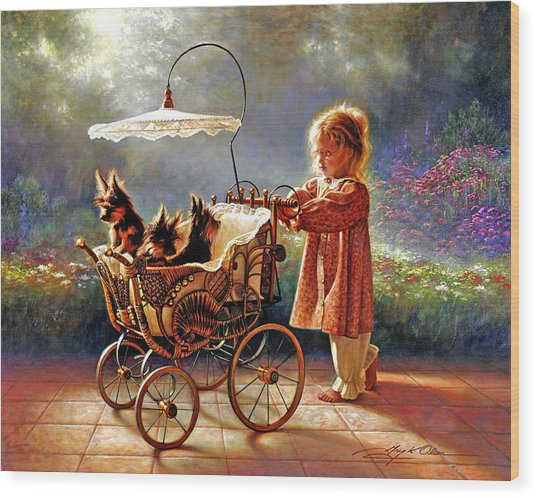 Wood Print featuring the painting I Love New Yorkies by Greg Olsen