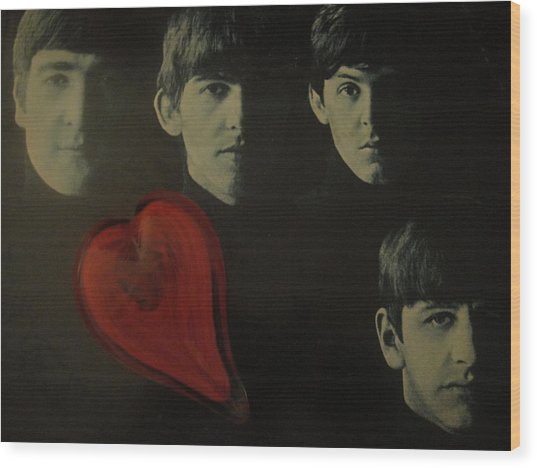 I Love The Early Beatles Music Wood Print