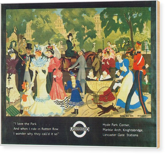 I Love The Park - London Underground, London Metro, Suburban - Retro Travel Poster Wood Print
