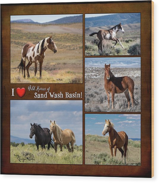 I Love Wild Horses Of Sand Wash Basin Wood Print
