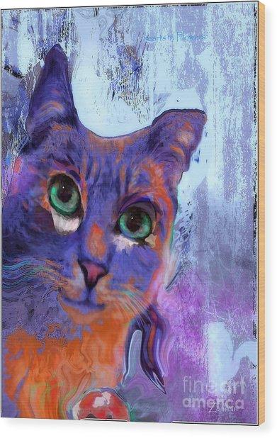 I See You Cat Wood Print