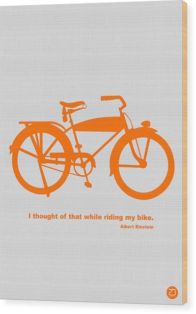 I Thought Of That While Riding My Bike Wood Print by Naxart Studio