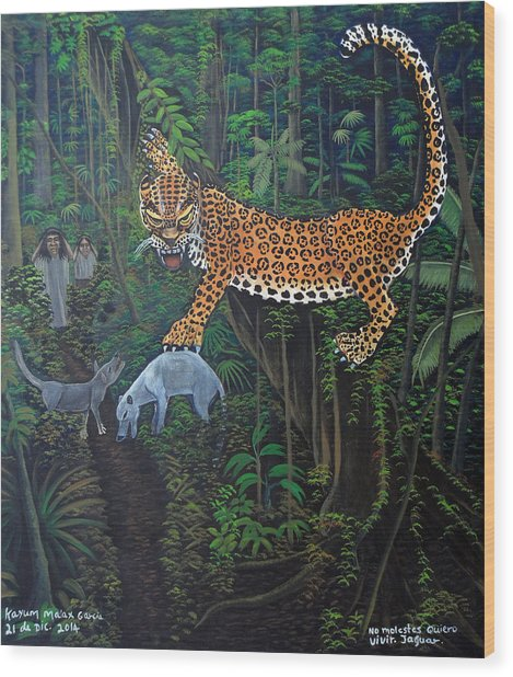 I Want To Live Jaguar Wood Print by Kayum Ma'ax Garcia
