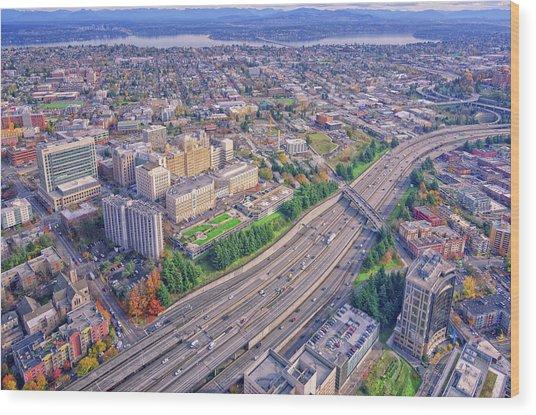 I5 Seattle Aerial View Wood Print