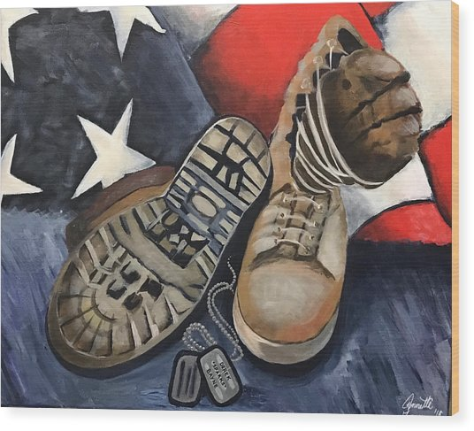 Ians Boots V3 Wood Print by Annette Torres