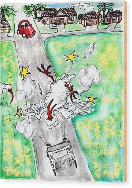 Ibis Sees Stars Wood Print by Carol Allen Anfinsen