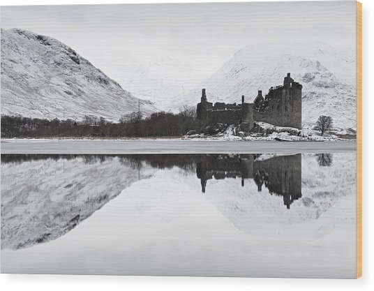 Ice And Snow At Loch Awe Wood Print