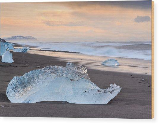 Ice Beach Wood Print