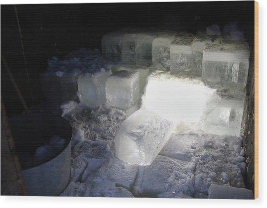 Ice Blocks In House Wood Print