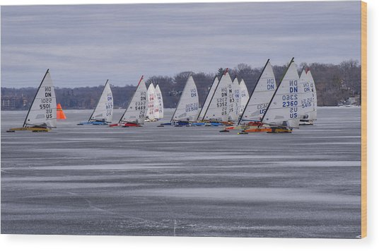Ice Boat Racing - Madison - Wisconsin Wood Print