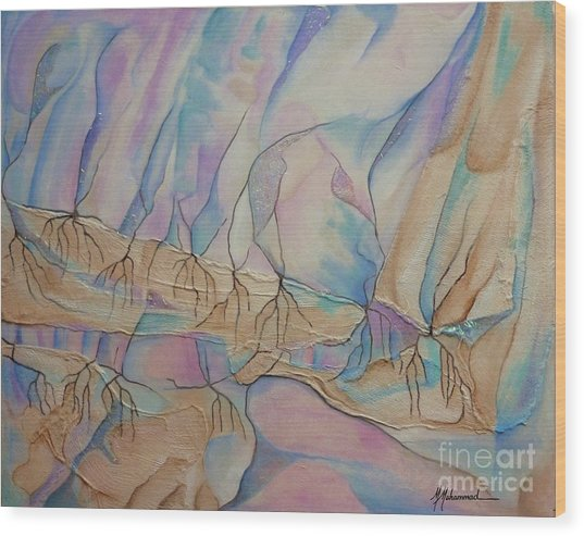 Ice Cascade Wood Print by Marcella Muhammad