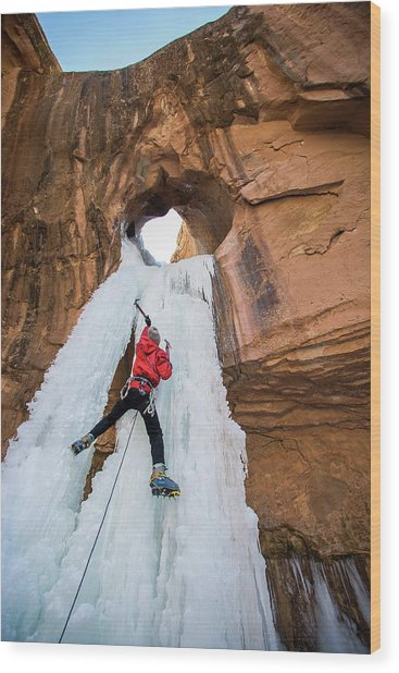 Ice Climber Wood Print