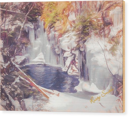 Ice Cold View Of Sages Ravine. Northwest Connecticut Wood Print