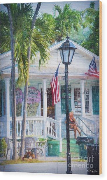 Ice Cream In Key West Wood Print