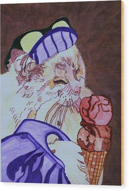 Ice Cream Kitty Wood Print