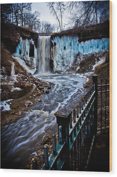Ice Falls Wood Print