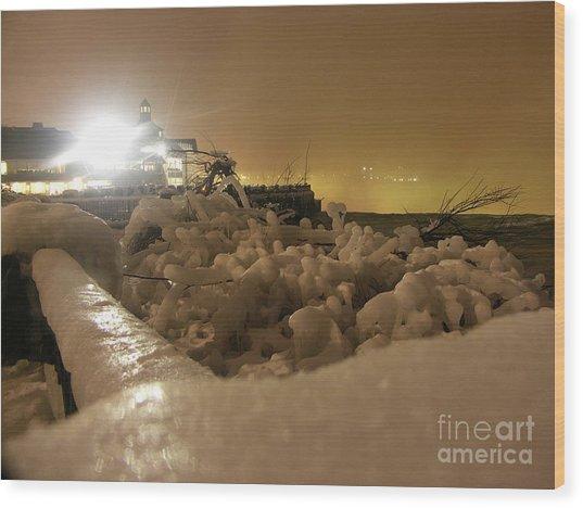 Ice In Sepia Wood Print by Deborah Selib-Haig DMacq