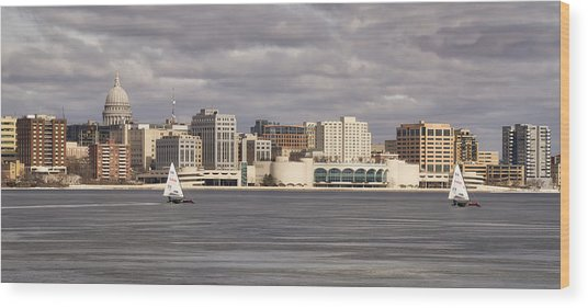 Ice Sailing - Lake Monona - Madison - Wisconsin Wood Print