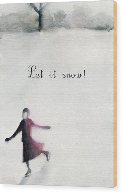 Ice Skater Holiday Card Wood Print