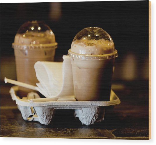 Iced Caramel Coffee Wood Print