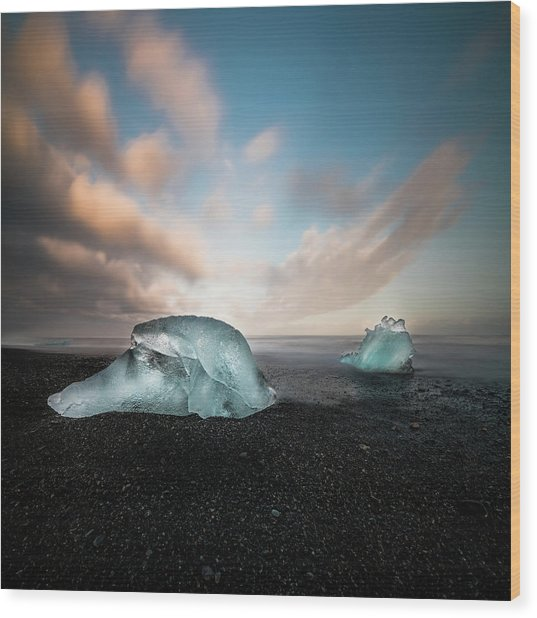 Iceland Glacial Ice Wood Print