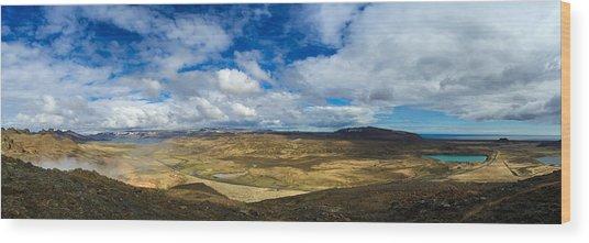 Iceland Panorama Image Geothermal Area Wood Print