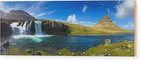Iceland Panorama Shot Kirkjufell Wood Print
