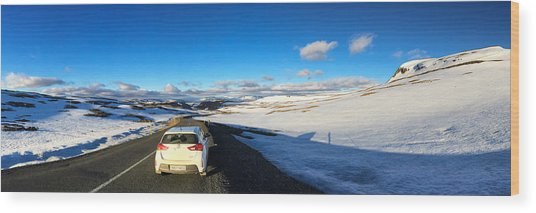 Iceland Travel - Snow Covered Mountain Pass In June Wood Print