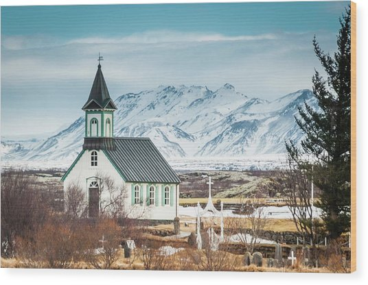 Icelandic Church, Thingvellir Wood Print