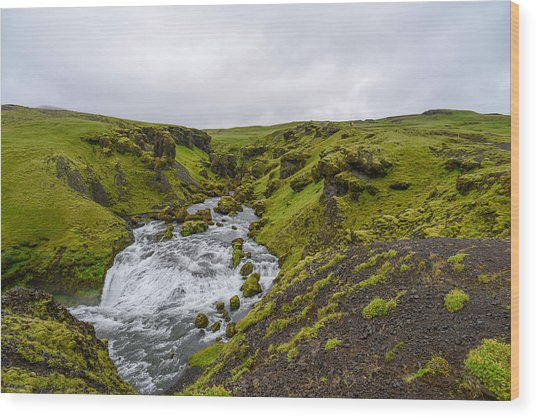 Icelandic Waterfall Wood Print